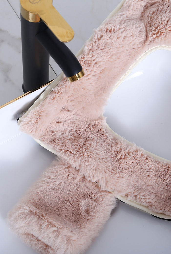 washable faux mink fur bathroom seat ring covering