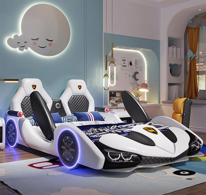 white supercar bed for grownups with scrissor doors