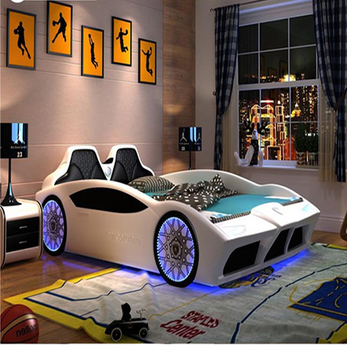 white supercar bed for grownups