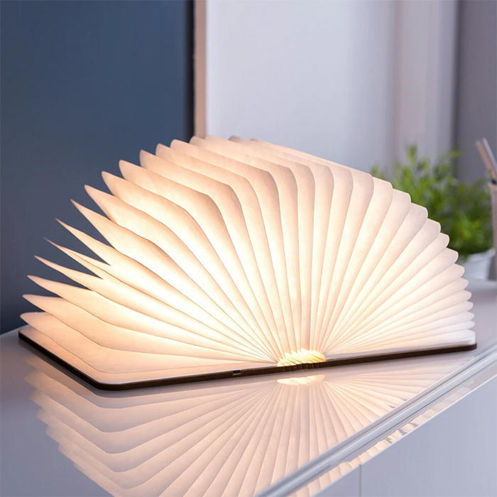 wooden smart book light fanned out