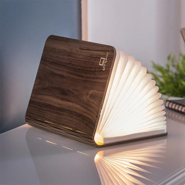 wooden smart book light walnut wood