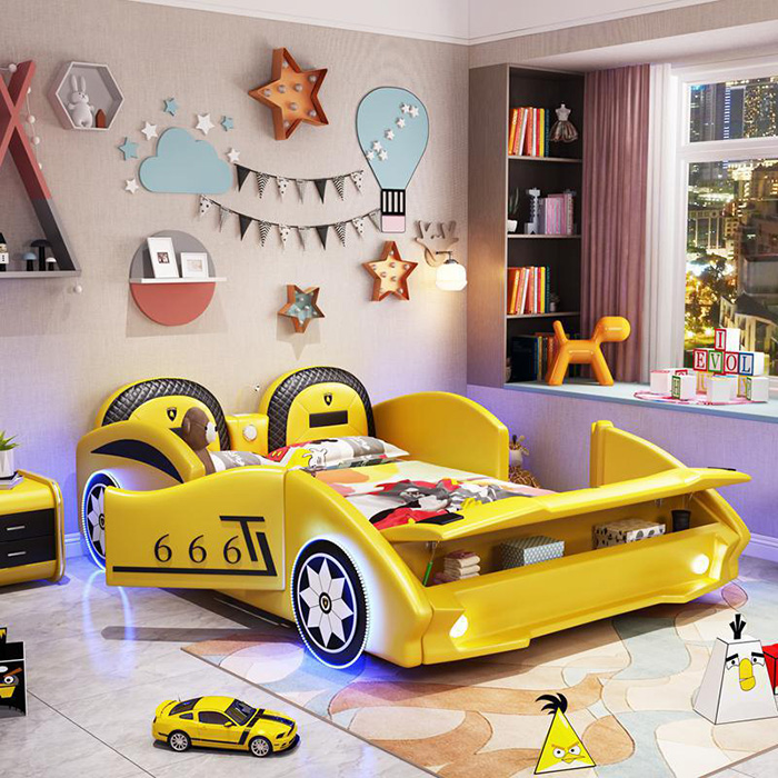 yellow supercar bed for grownups with hood storage