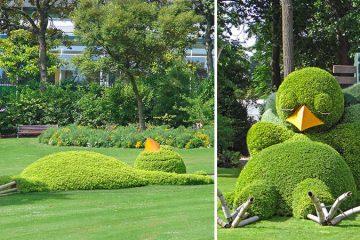 Topiary Sculpture of a Sleeping Baby Bird