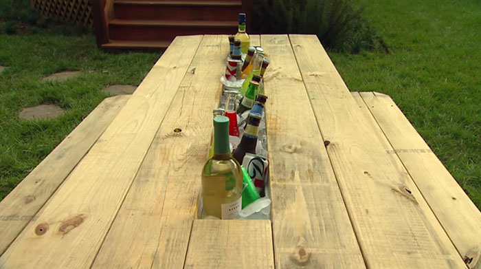 diy beverage chiller compartment for picnic table