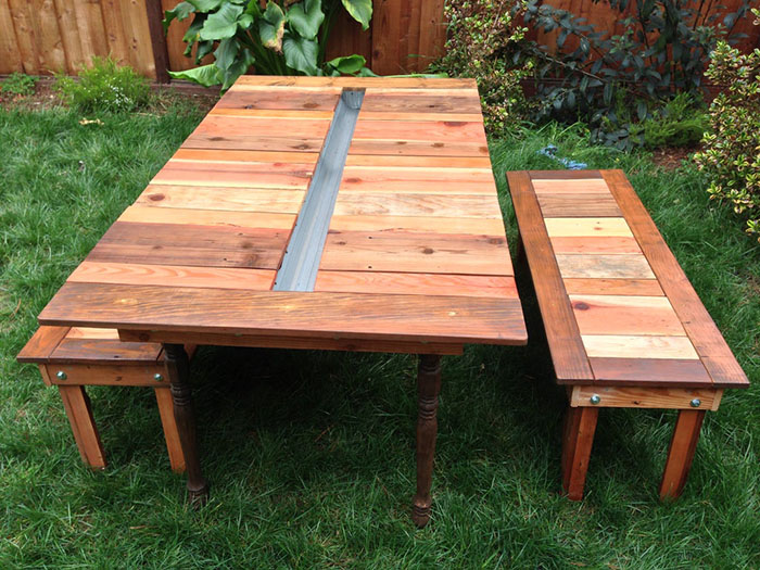 diy plant gutter for picnic table quitethecontrary