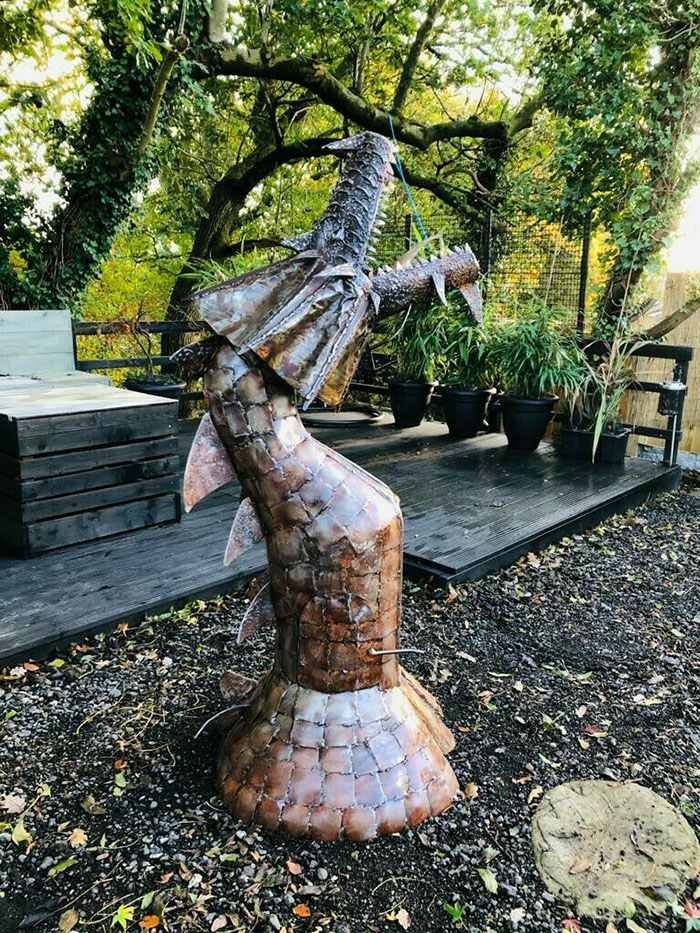 fire breathing mythical creature chimenea statue