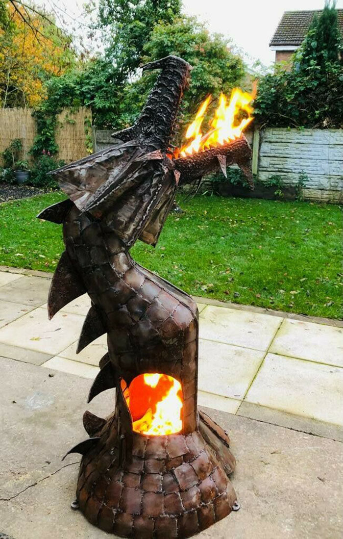 fire breathing mythical creature chimenea