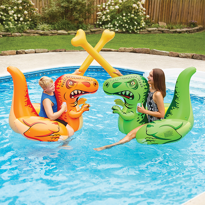 inflatable dino duel ride-on set