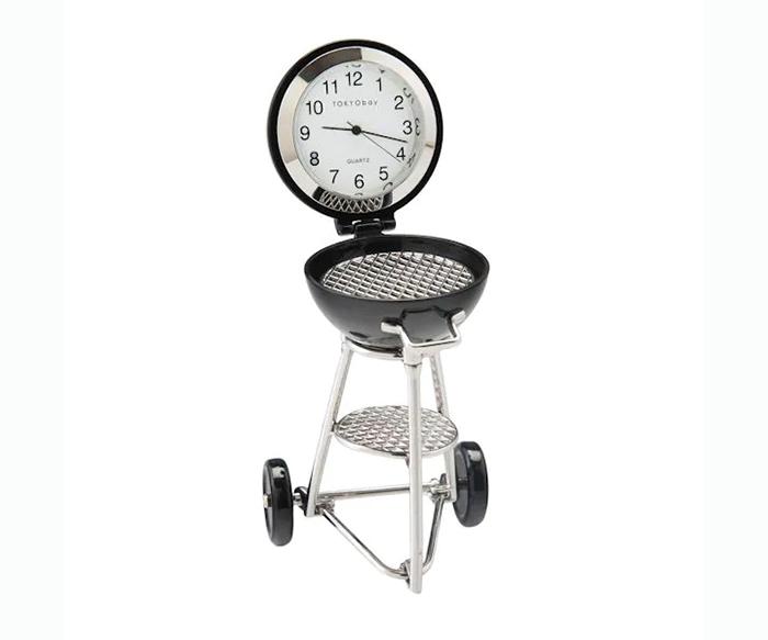 mini bbq grill desk clock quartz movement
