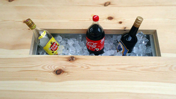 picnic table with beverage chiller compartment kiintfurnituredesign
