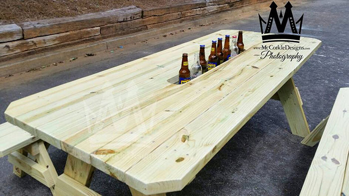 picnic table with built in beverage chiller compartment mccorkledesigns