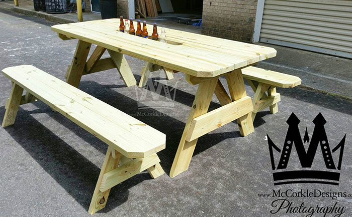 picnic table with drink cooler troughs mccorkledesigns