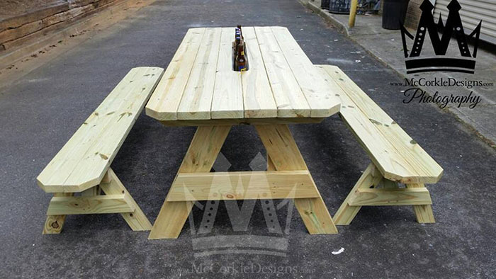 picnic table with hidable drink cooler troughs mccorkledesigns
