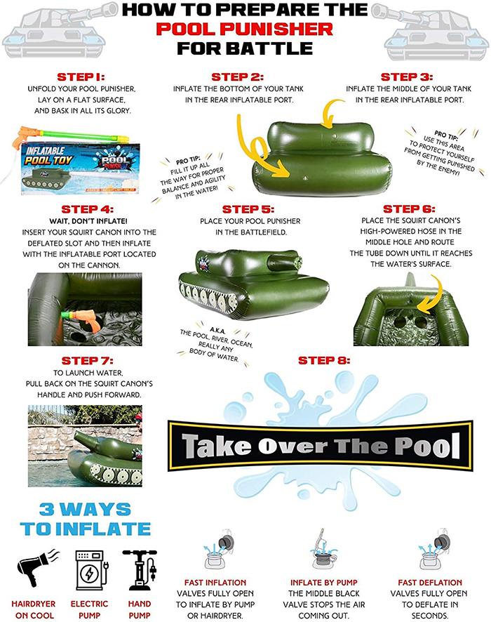 pool punisher tank pool float setup infographics