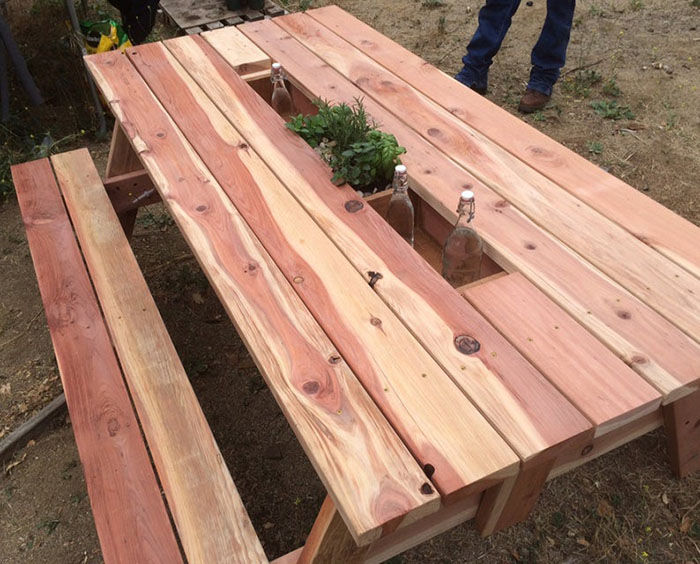 redwood picnic table with drink cooler troughs mocahandcrafted