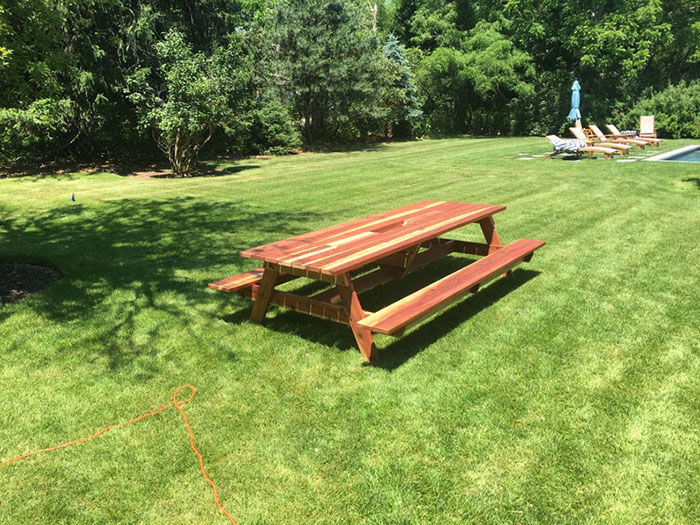 redwood picnic table with planter and drink cooler troughs mocahandcrafted