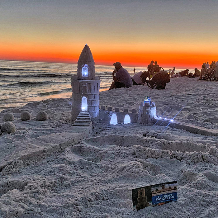 sand castle with glowing windows