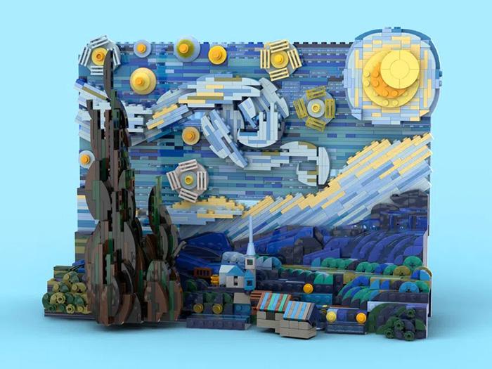 vincent van gogh painting brick diorama