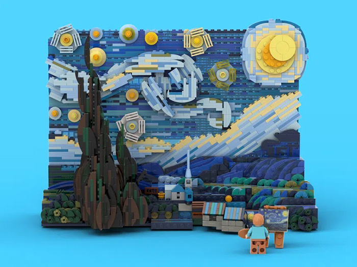vincent van gogh painting miniature brick diorama