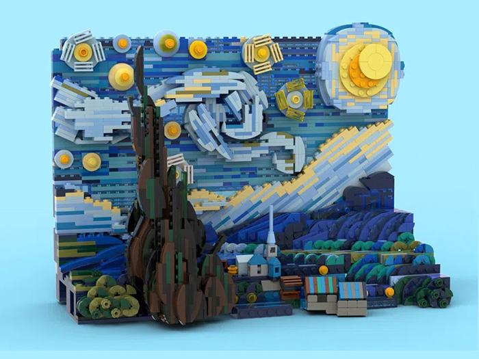 vincent van gogh starry night 3d lego set legotruman