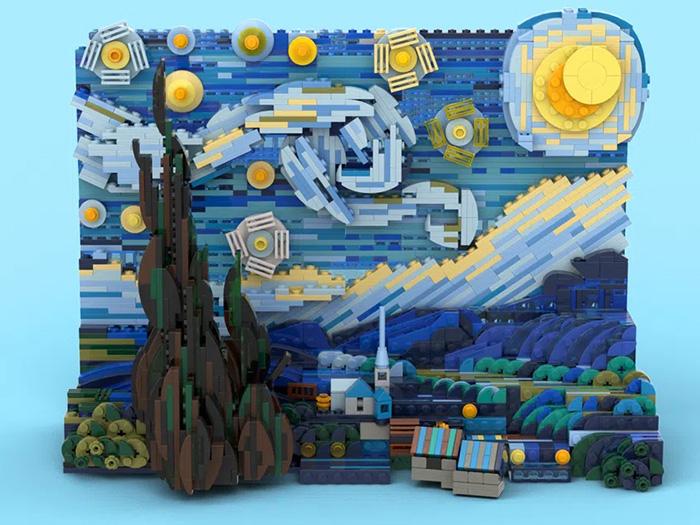 vincent van gogh starry night 3d lego set