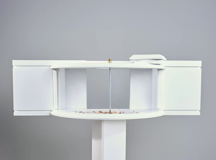 window-mounted in-house curved critter food tray