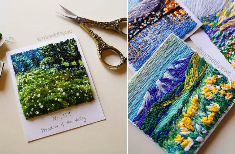 Embroidered Landscape Polaroids