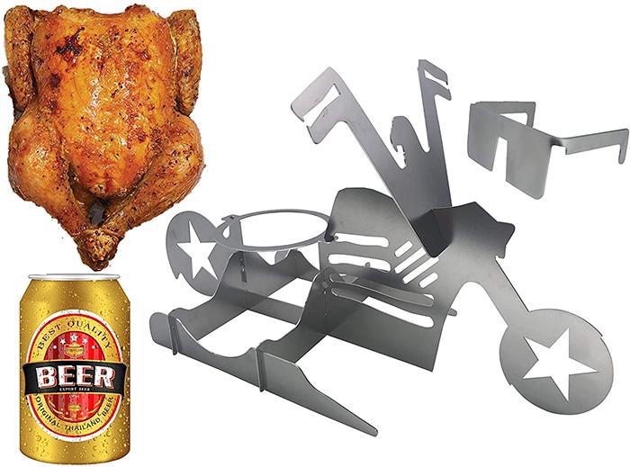 american biker beer can chicken holder