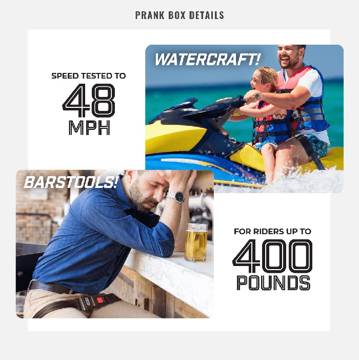 bike safety strap prank gift box details product features