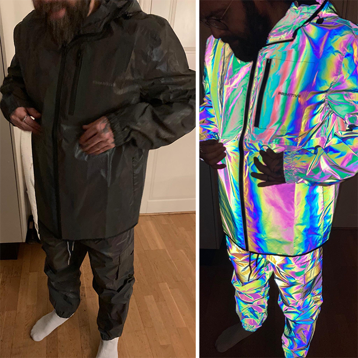 brilliant designs fully reflective iridescent rain coat