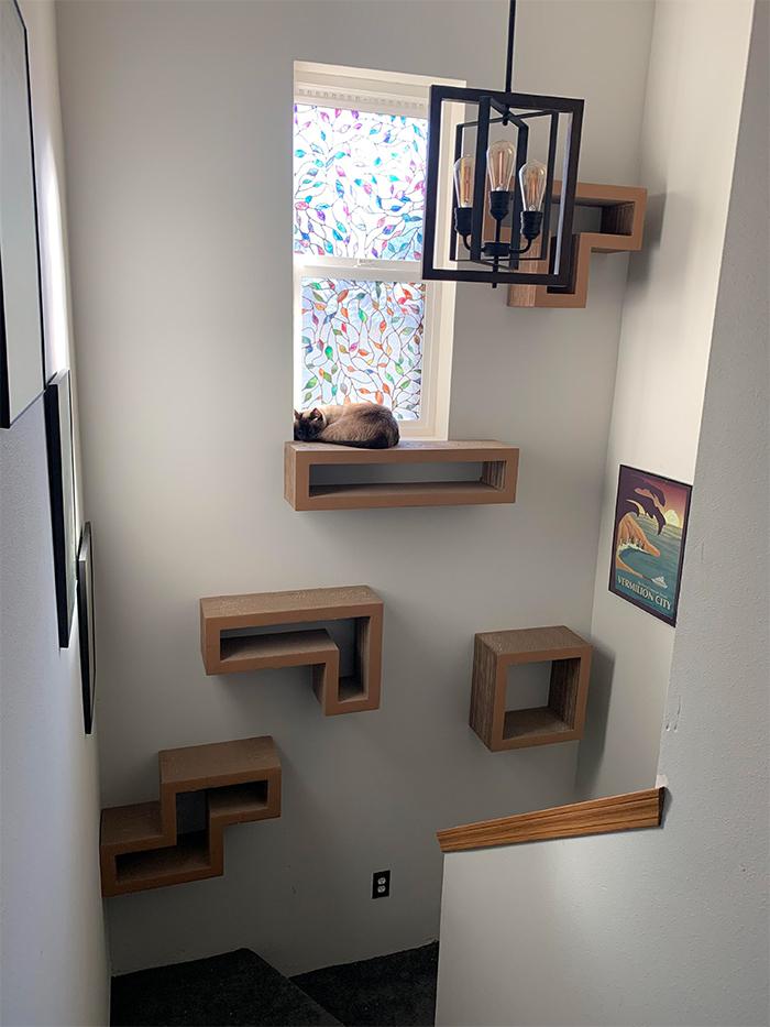 brilliant designs tetris inspired cat tower