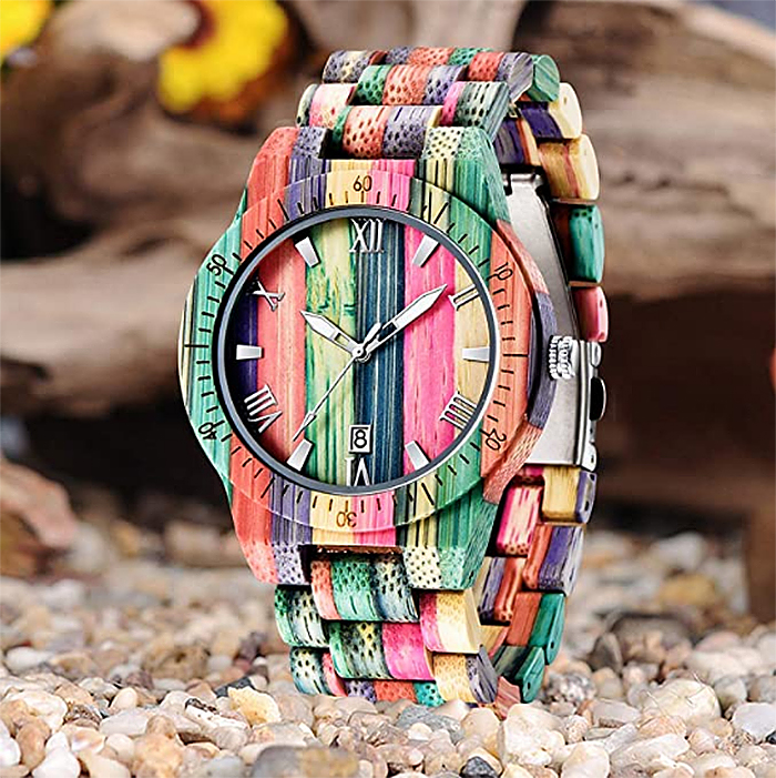 colorful wooden watch for men