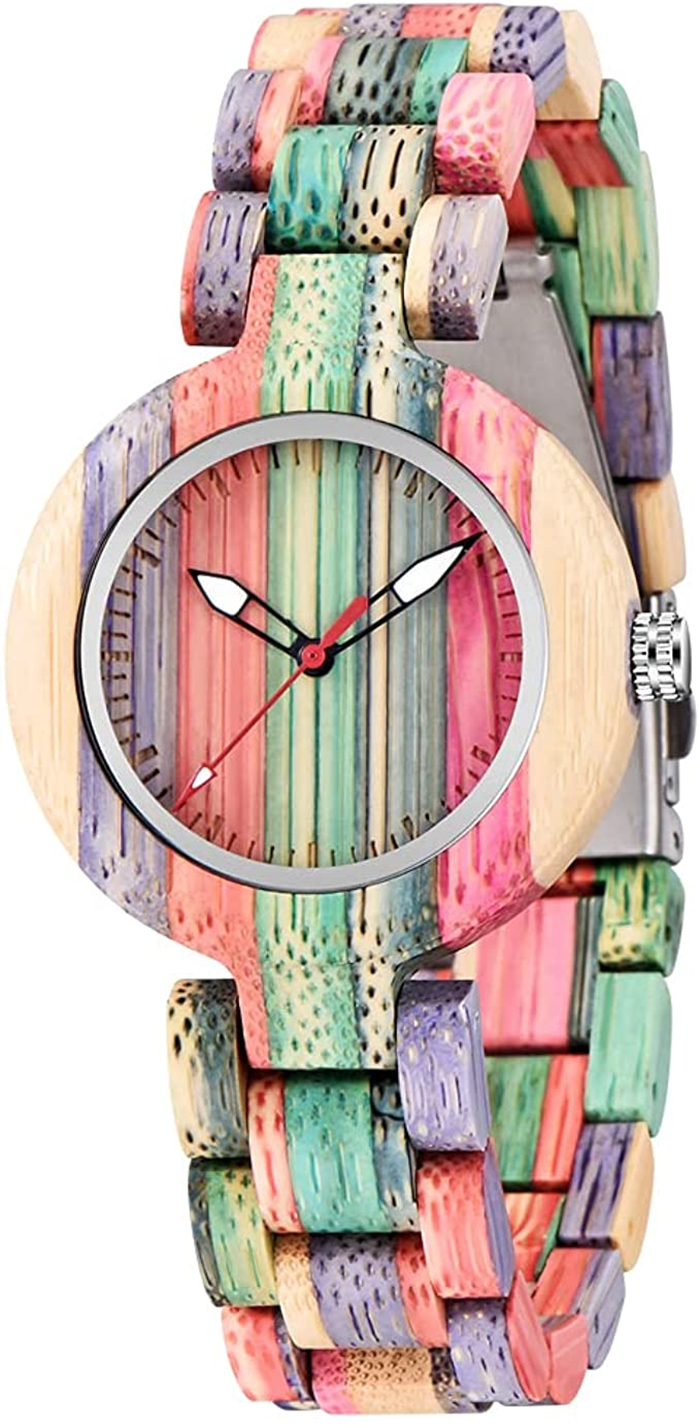 colorful wooden watch for women
