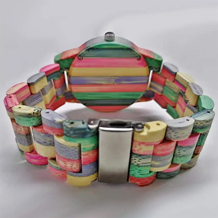 colorful wooden watch wide band