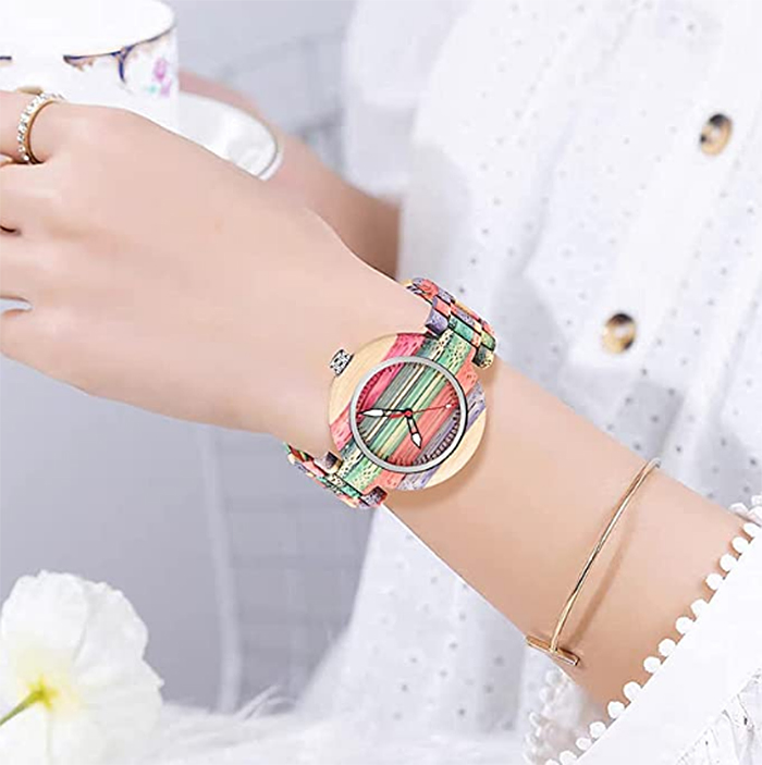 colorful wooden watch women