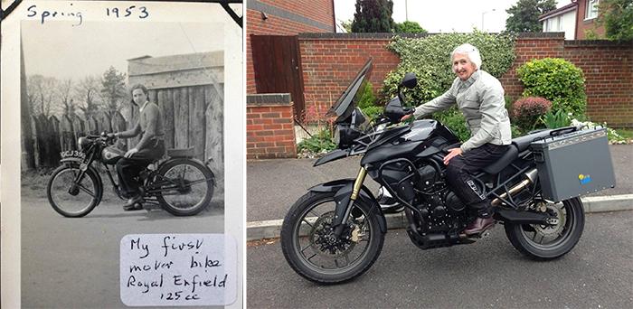 comparison images grandma bike 59 years apart