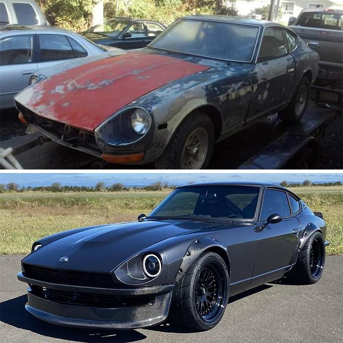 comparison images old car remodeled