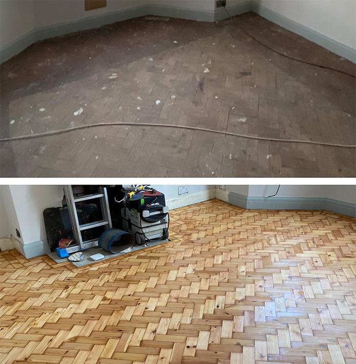comparison images parquet flooring restoration