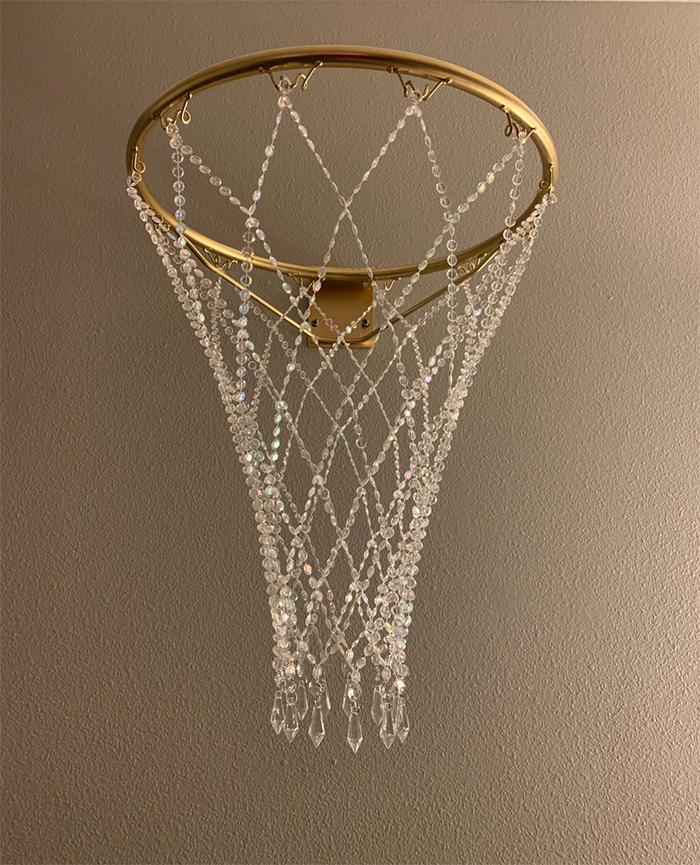crystal basketball hoop chandelier full-sized