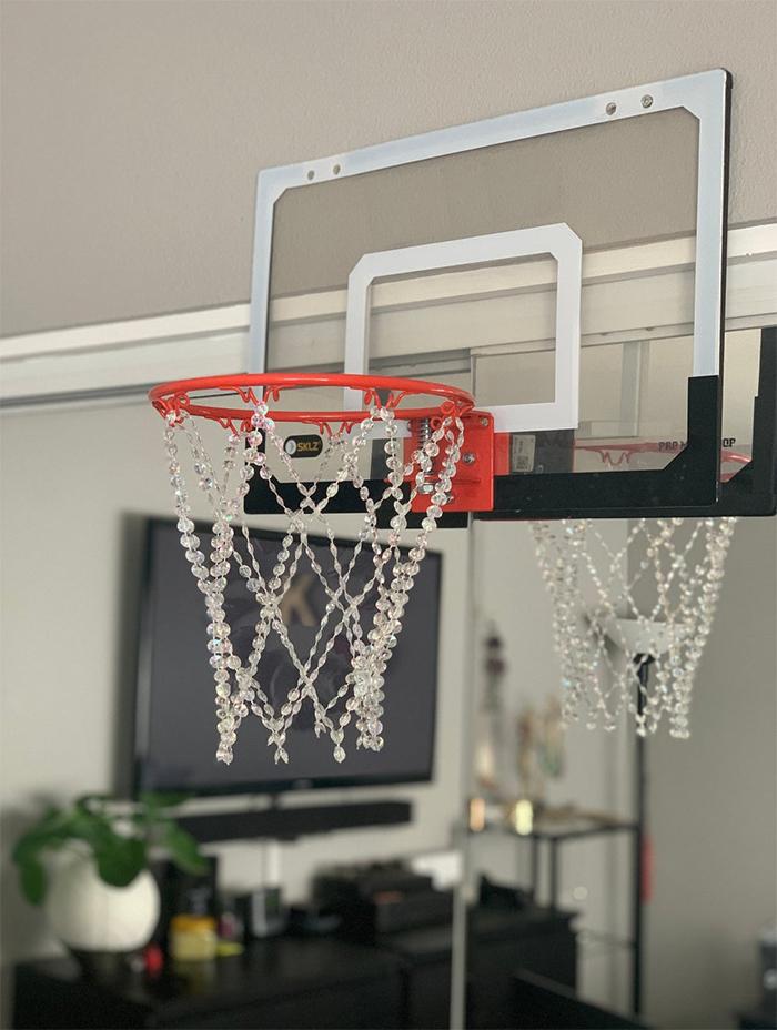 crystal basketball hoop chandelier with backboard