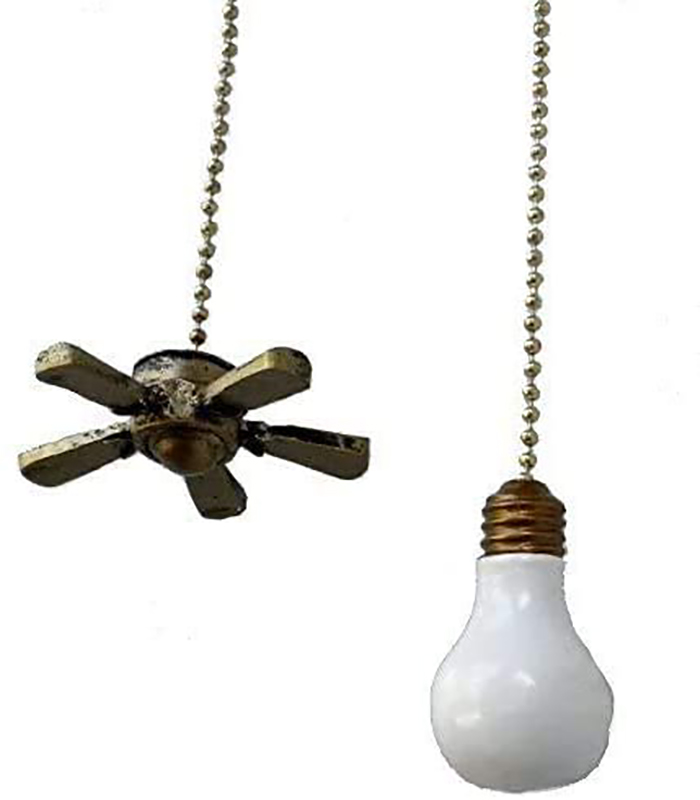 fan and light bulb beaded pull chains