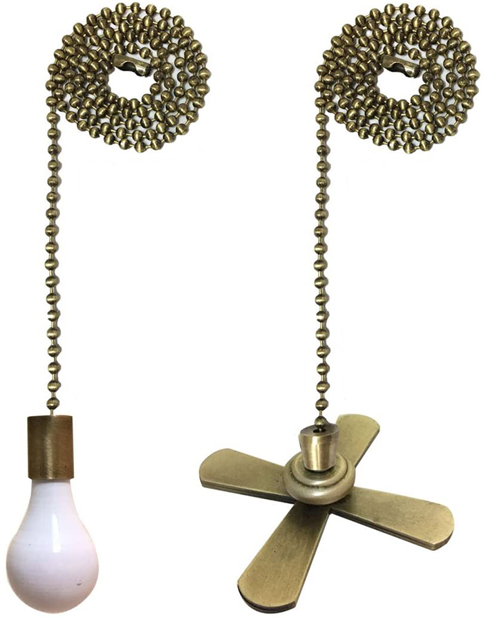 fan and light bulb pull switch ornaments