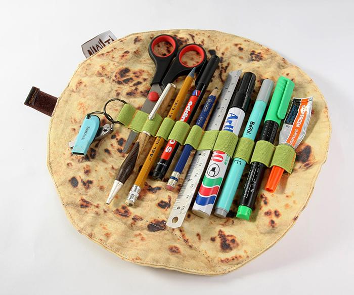 flatbread roll up pen organizer