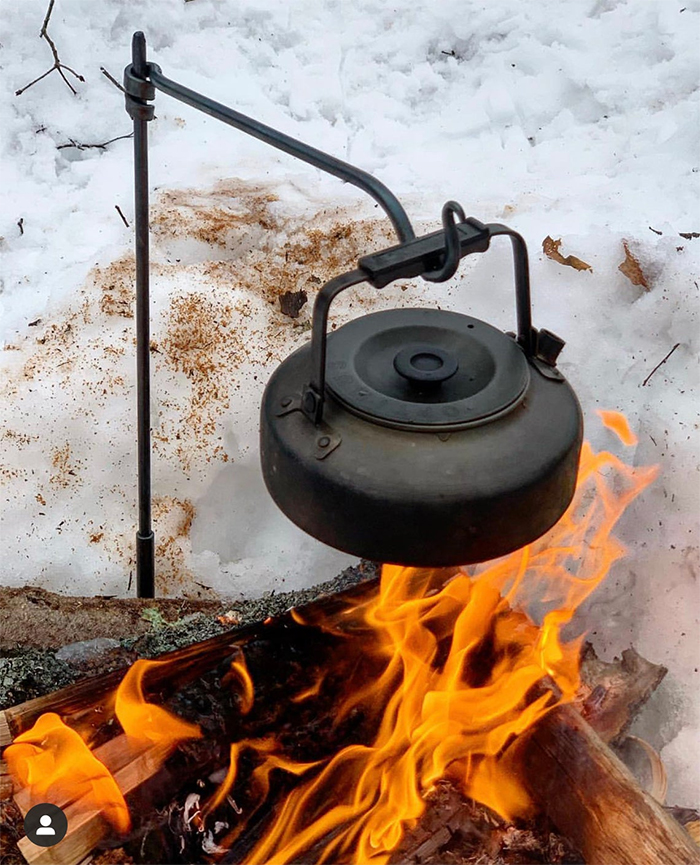 forged steel camping kettle holder
