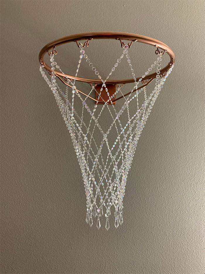 gemstone net and rim hanging decor