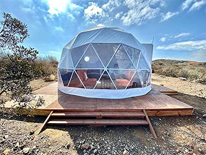 geodesic dome tent wooden floor