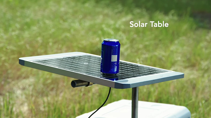 gosun chillest solar-powered cooler elbow solar table attachment