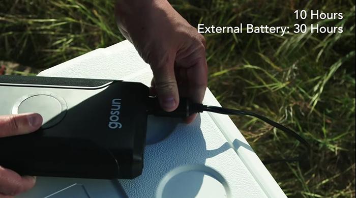 gosun chillest solar-powered cooler external battery