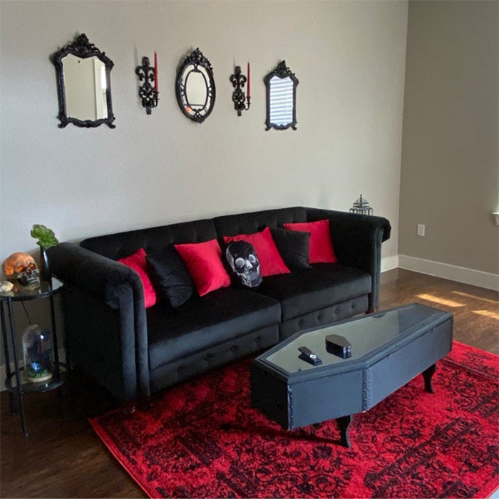 gothic themed home interior