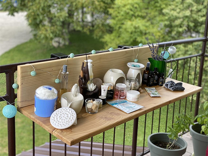 hanging balcony desk space saving